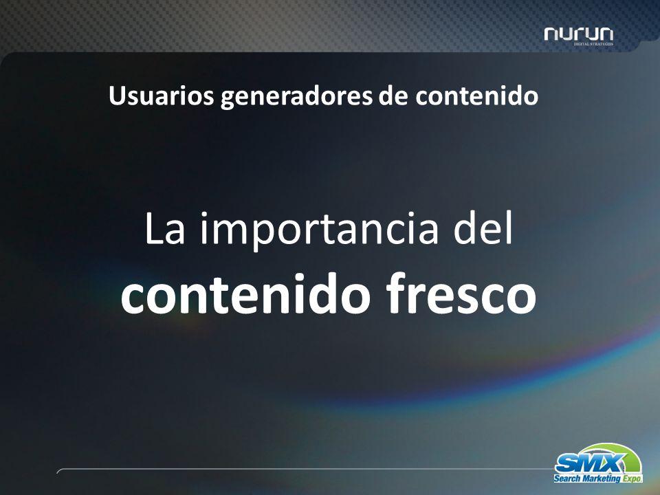 58 Usuarios generadores de contenido La importancia del contenido fresco