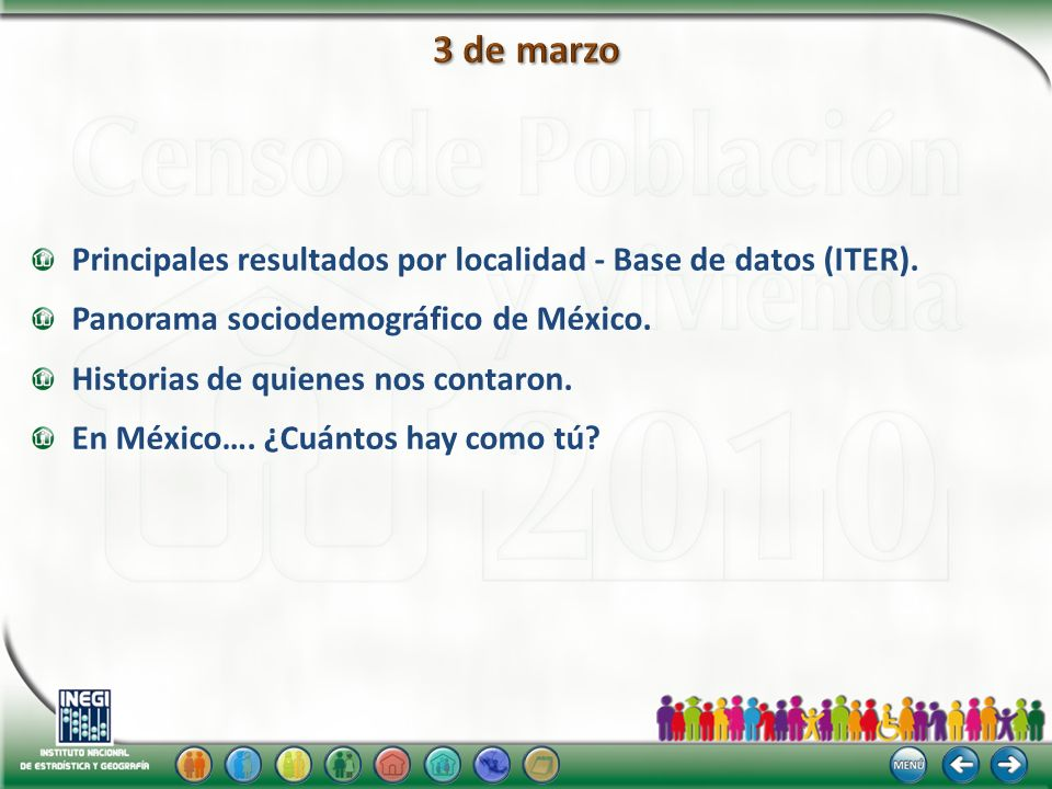 Principales resultados por localidad - Base de datos (ITER). Panorama sociodemográfico de México. Historias de quienes nos contaron. En México…. ¿Cuán