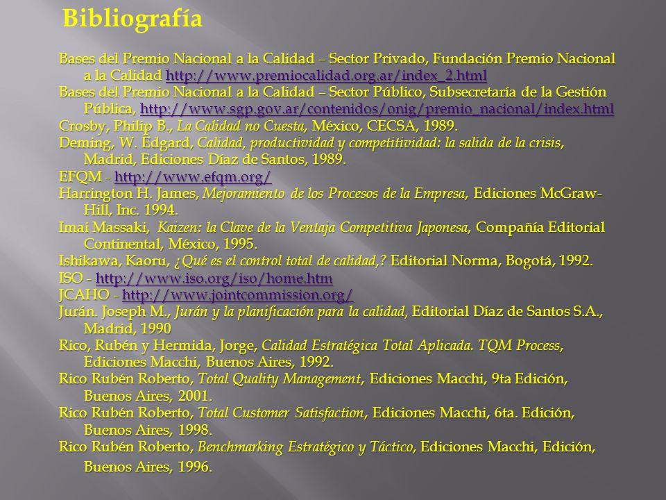 Bases del Premio Nacional a la Calidad – Sector Privado, Fundación Premio Nacional a la Calidad http://www.premiocalidad.org.ar/index_2.html http://ww