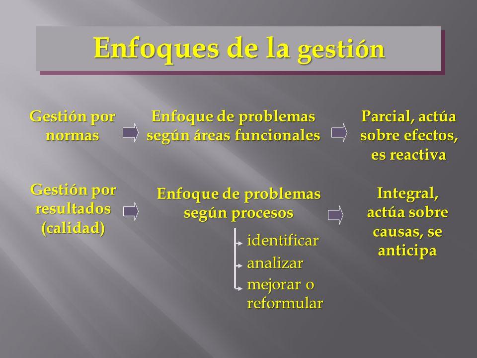 Enfoques de la gestión Gestión por normas Gestión por resultados (calidad) Enfoque de problemas según áreas funcionales Enfoque de problemas según pro