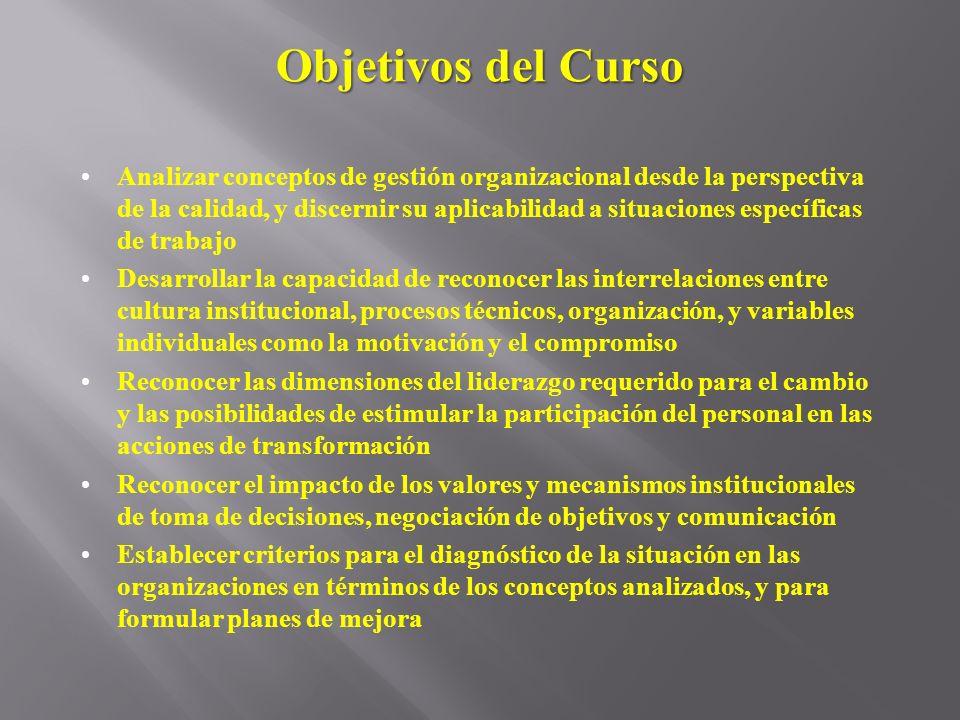 Objetivos del Curso Analizar conceptos de gestión organizacional desde la perspectiva de la calidad, y discernir su aplicabilidad a situaciones especí