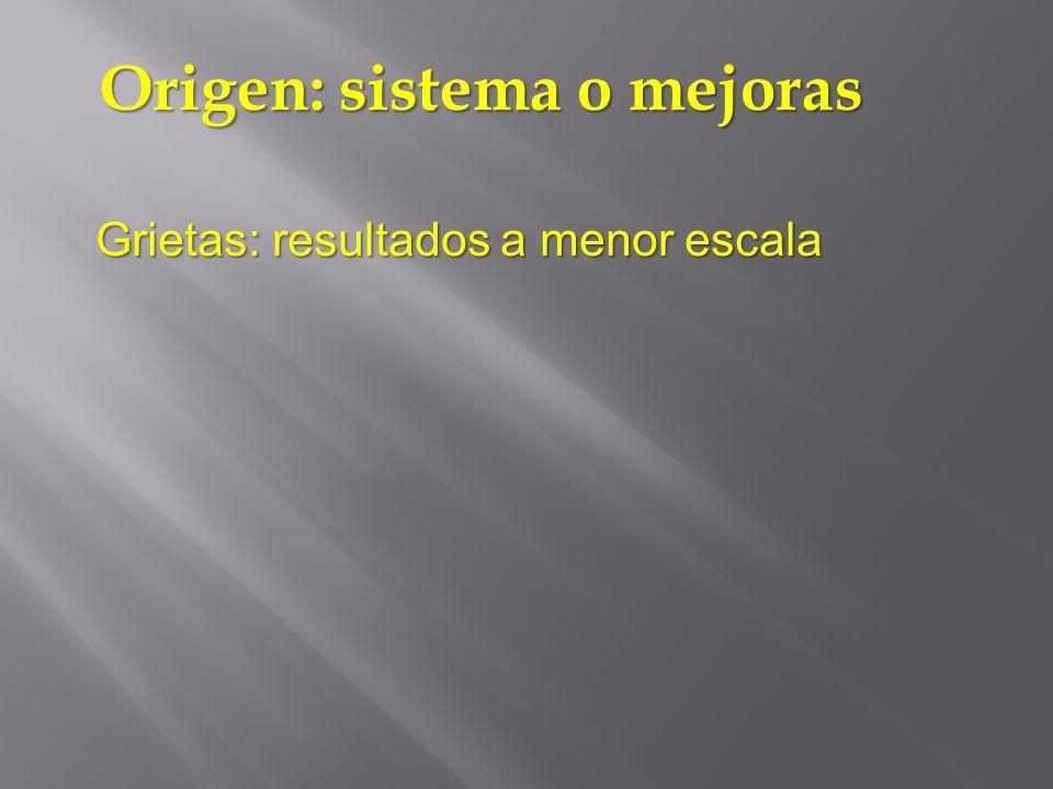 Grietas: resultados a menor escala Origen: sistema o mejoras