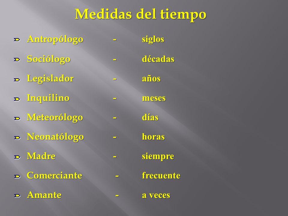 Medidas del tiempo Antropólogo- siglos Sociólogo - décadas Legislador - años Inquilino - meses Meteorólogo - días Neonatólogo - horas Madre - siempre