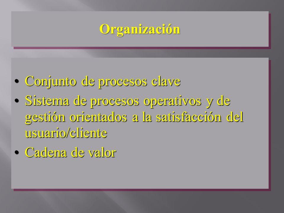 OrganizaciónOrganización Conjunto de procesos claveConjunto de procesos clave Sistema de procesos operativos y de gestión orientados a la satisfacción