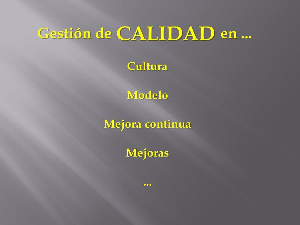 en en... Gestión de Gestión de CALIDAD Cultura Modelo Mejora continua Mejoras...