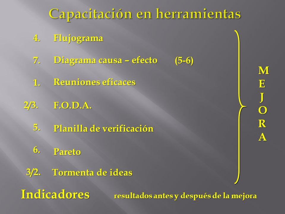 Capacitación en herramientas Flujograma Reuniones eficaces Diagrama causa – efecto Tormenta de ideas Planilla de verificación Pareto F.O.D.A. Indicado