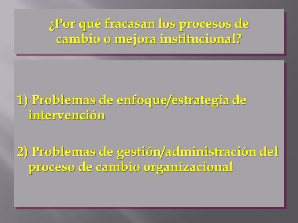 ¿Por qué fracasan los procesos de cambio o mejora institucional? 1) Problemas de enfoque/estrategia de intervención 2) Problemas de gestión/administra