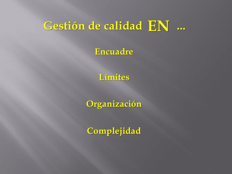 ... Gestión de calidad EN Encuadre Límites Organización Complejidad