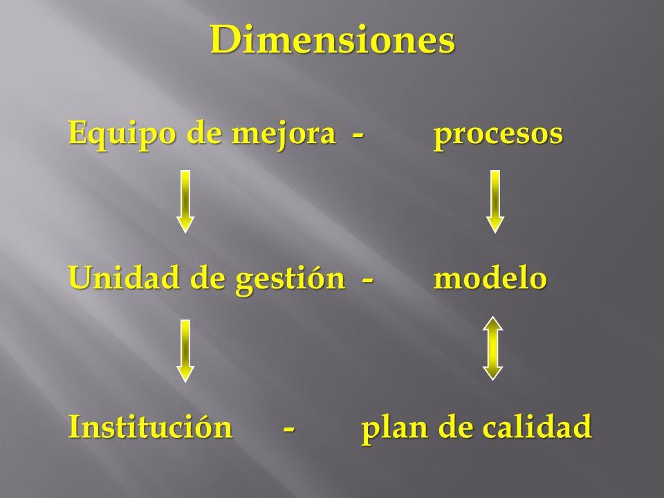 Equipo de mejora - Unidad de gestión - procesos modelo Dimensiones Institución - plan de calidad