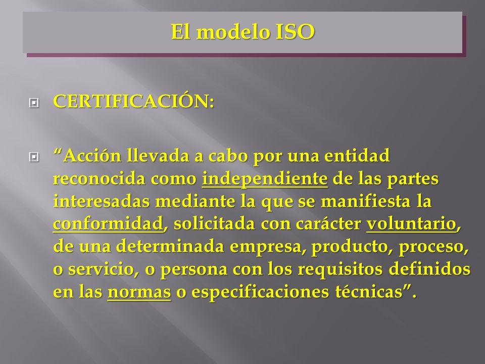CERTIFICACIÓN: CERTIFICACIÓN: Acción llevada a cabo por una entidad reconocida como independiente de las partes interesadas mediante la que se manifie