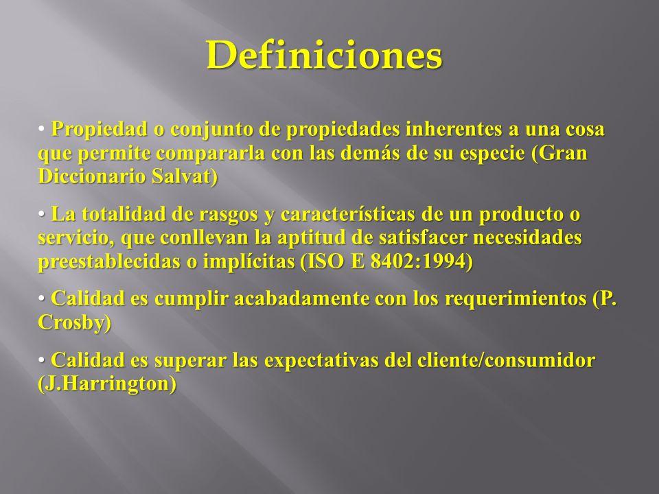 Definiciones Propiedad o conjunto de propiedades inherentes a una cosa que permite compararla con las demás de su especie (Gran Diccionario Salvat) La