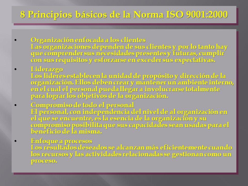 8 Principios básicos de la Norma ISO 9001:2000 Organización enfocada a los clientes Las organizaciones dependen de sus clientes y por lo tanto hay que