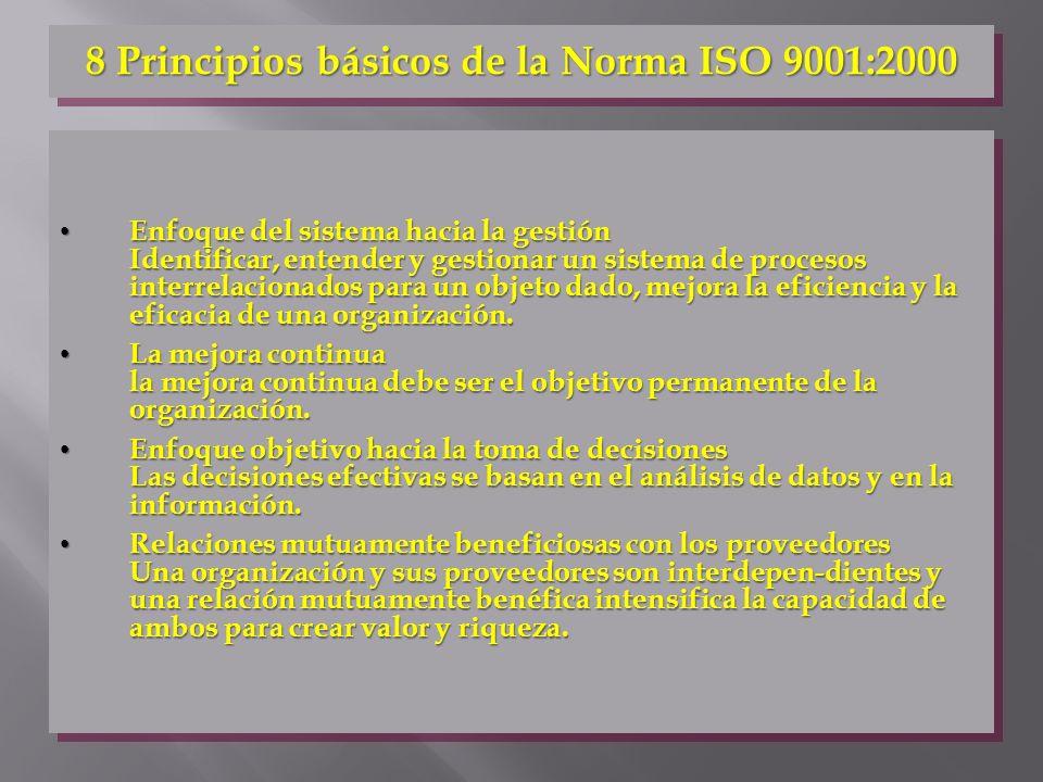 8 Principios básicos de la Norma ISO 9001:2000 Enfoque del sistema hacia la gestión Identificar, entender y gestionar un sistema de procesos interrela