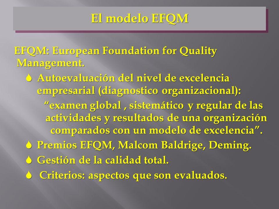 EFQM: European Foundation for Quality Management. S Autoevaluación del nivel de excelencia empresarial (diagnostico organizacional): examen global, si
