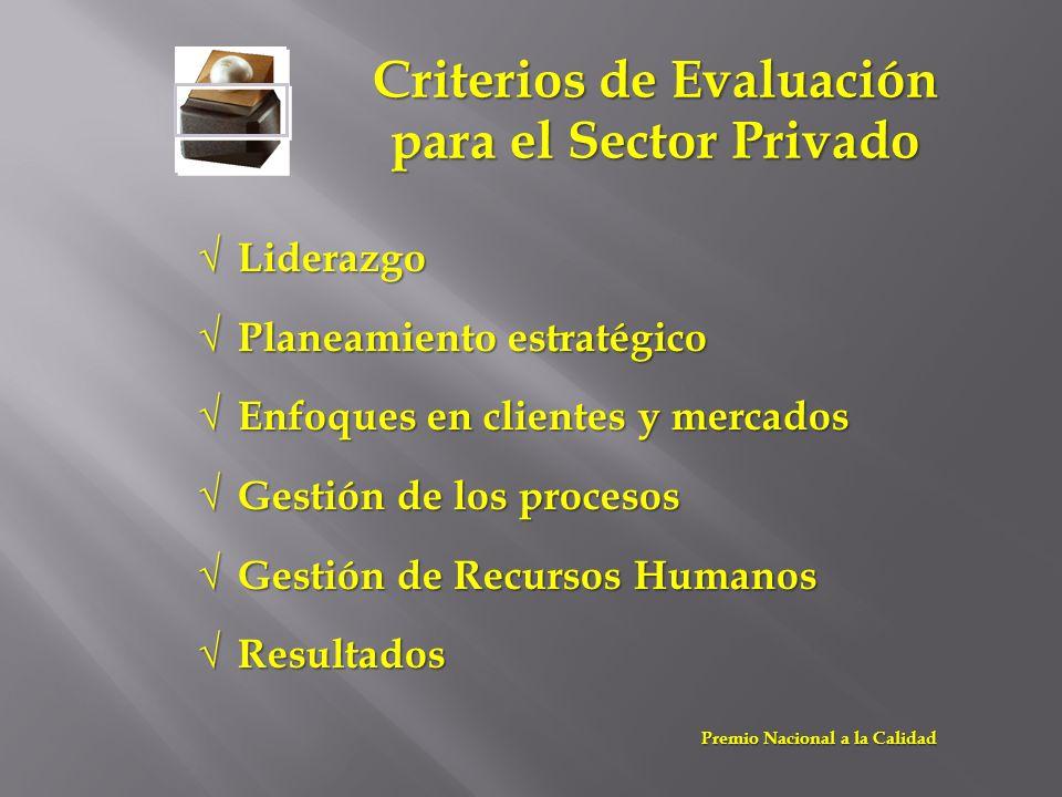 Criterios de Evaluación para el Sector Privado Liderazgo Liderazgo Planeamiento estratégico Planeamiento estratégico Enfoques en clientes y mercados E