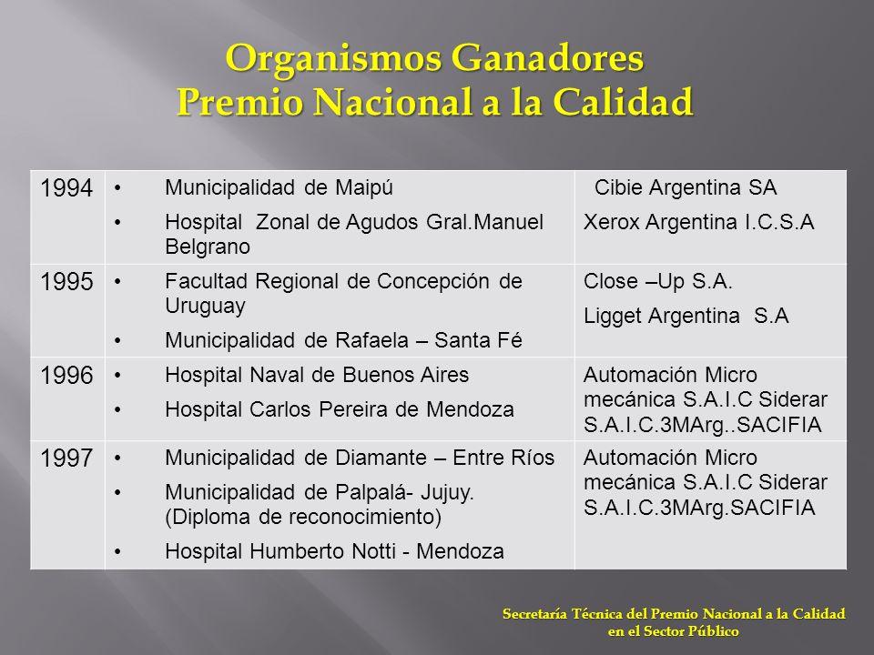 1994 Municipalidad de Maipú Hospital Zonal de Agudos Gral.Manuel Belgrano Cibie Argentina SA Xerox Argentina I.C.S.A 1995 Facultad Regional de Concepc