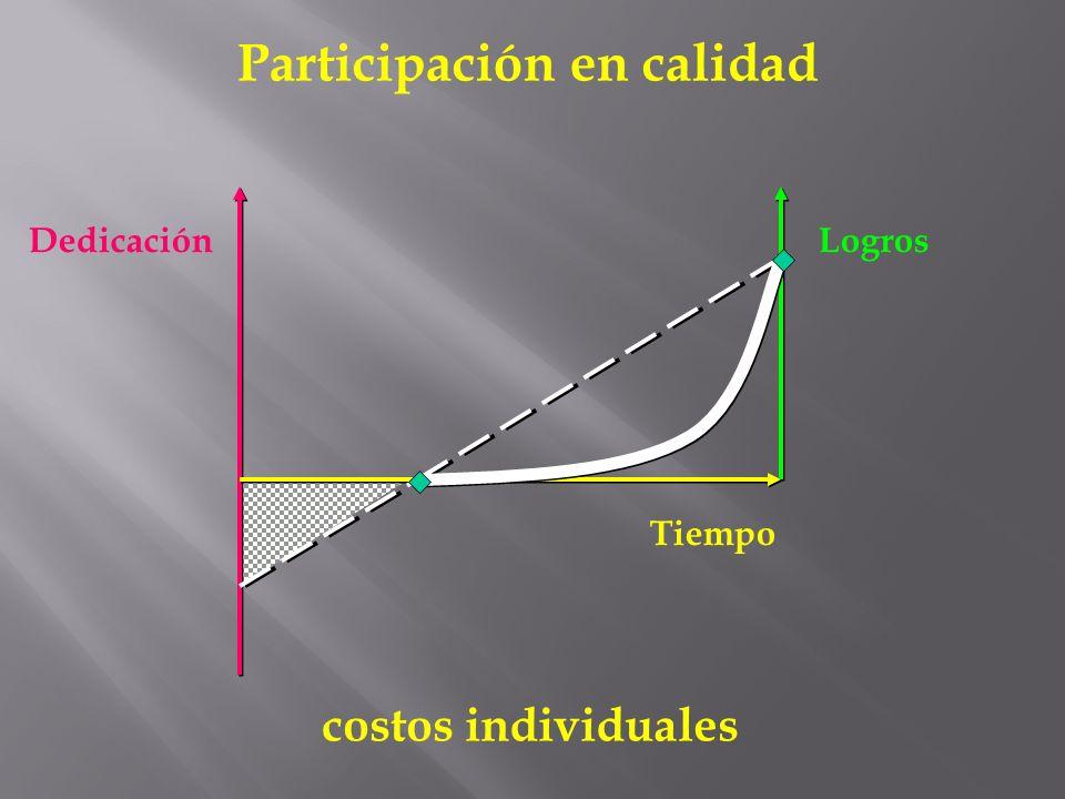 Dedicación Tiempo Logros costos individuales Participación en calidad