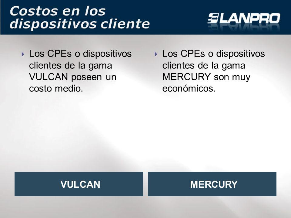 Los CPEs o dispositivos clientes de la gama VULCAN poseen un costo medio.