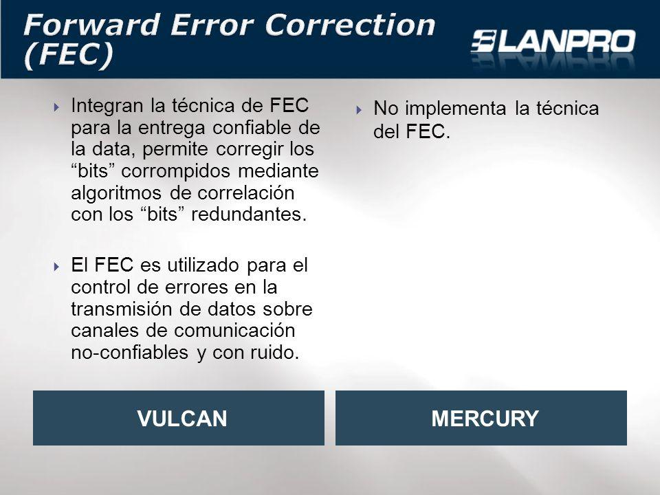 Integran la técnica de FEC para la entrega confiable de la data, permite corregir los bits corrompidos mediante algoritmos de correlación con los bits redundantes.