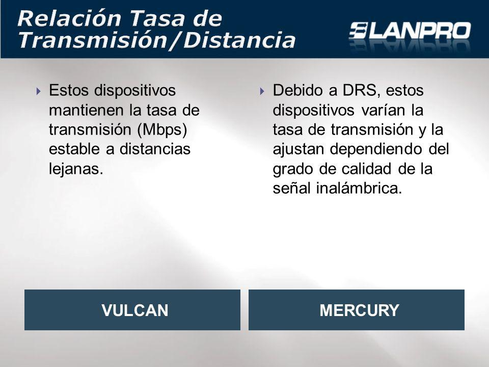 Estos dispositivos mantienen la tasa de transmisión (Mbps) estable a distancias lejanas.