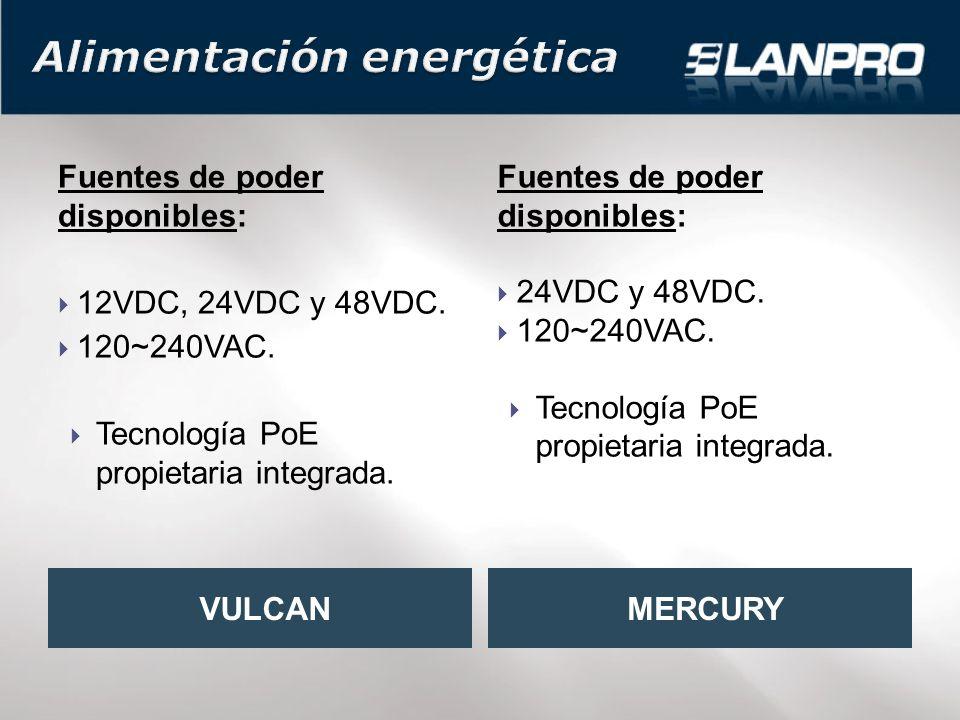 Fuentes de poder disponibles: 12VDC, 24VDC y 48VDC.