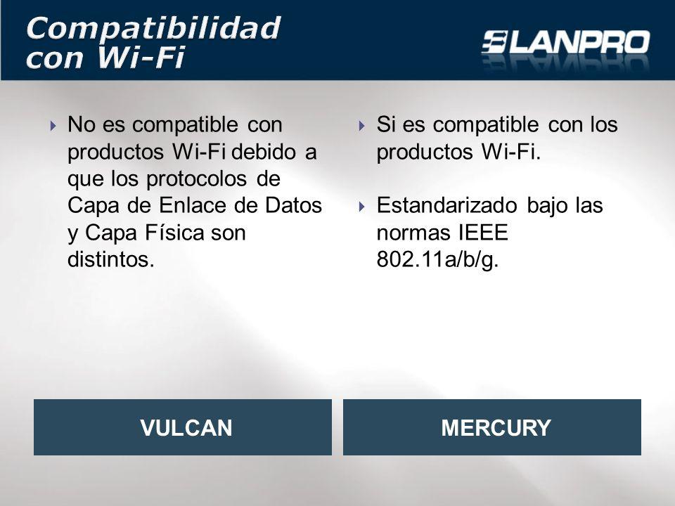 No es compatible con productos Wi-Fi debido a que los protocolos de Capa de Enlace de Datos y Capa Física son distintos.