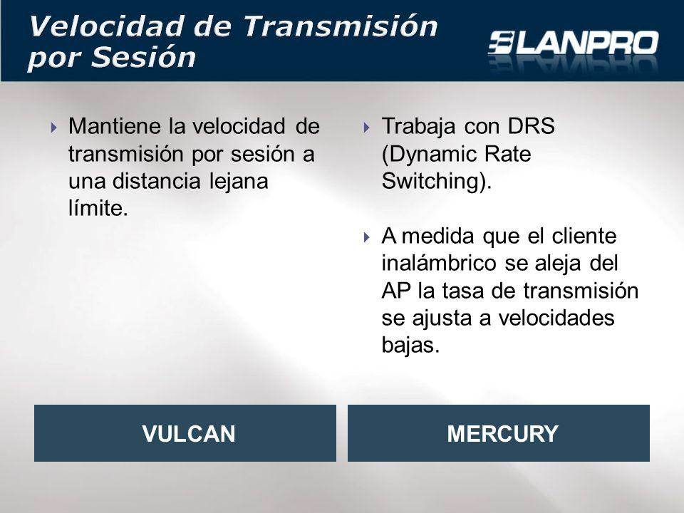 Mantiene la velocidad de transmisión por sesión a una distancia lejana límite.