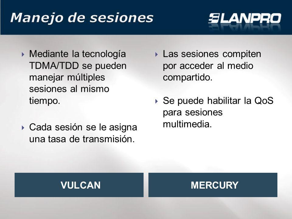 Mediante la tecnología TDMA/TDD se pueden manejar múltiples sesiones al mismo tiempo.