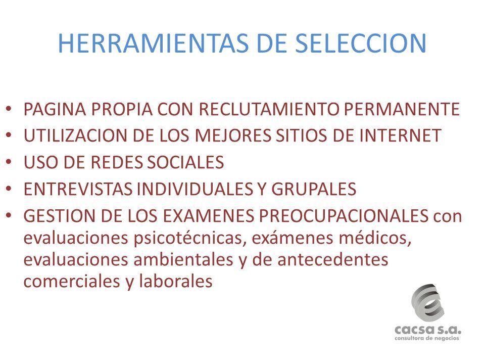 HERRAMIENTAS DE SELECCION PAGINA PROPIA CON RECLUTAMIENTO PERMANENTE UTILIZACION DE LOS MEJORES SITIOS DE INTERNET USO DE REDES SOCIALES ENTREVISTAS I