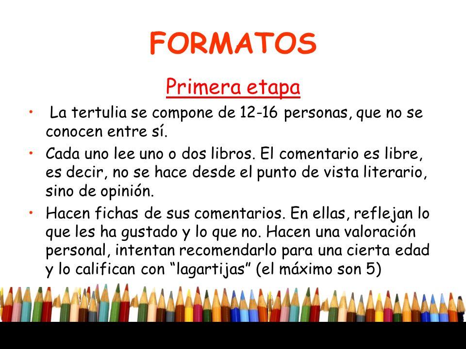 FORMATOS Primera etapa La tertulia se compone de 12-16 personas, que no se conocen entre sí. Cada uno lee uno o dos libros. El comentario es libre, es