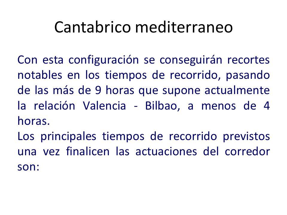 Cantabrico mediterraneo Con esta configuración se conseguirán recortes notables en los tiempos de recorrido, pasando de las más de 9 horas que supone