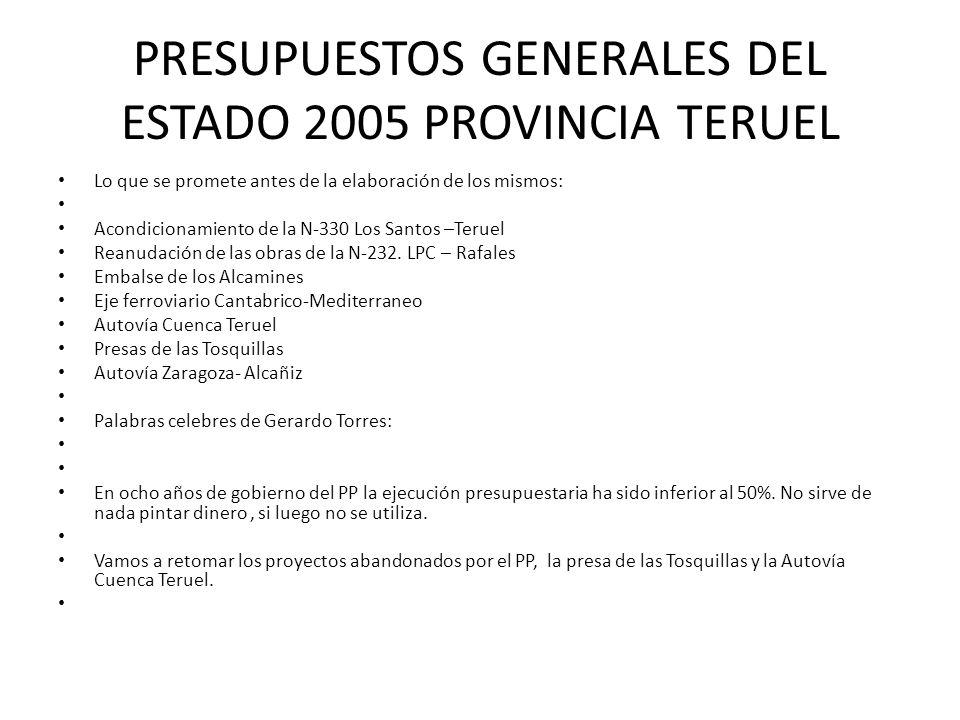 PRESUPUESTOS GENERALES DEL ESTADO 2005 PROVINCIA TERUEL Lo que se promete antes de la elaboración de los mismos: Acondicionamiento de la N-330 Los San