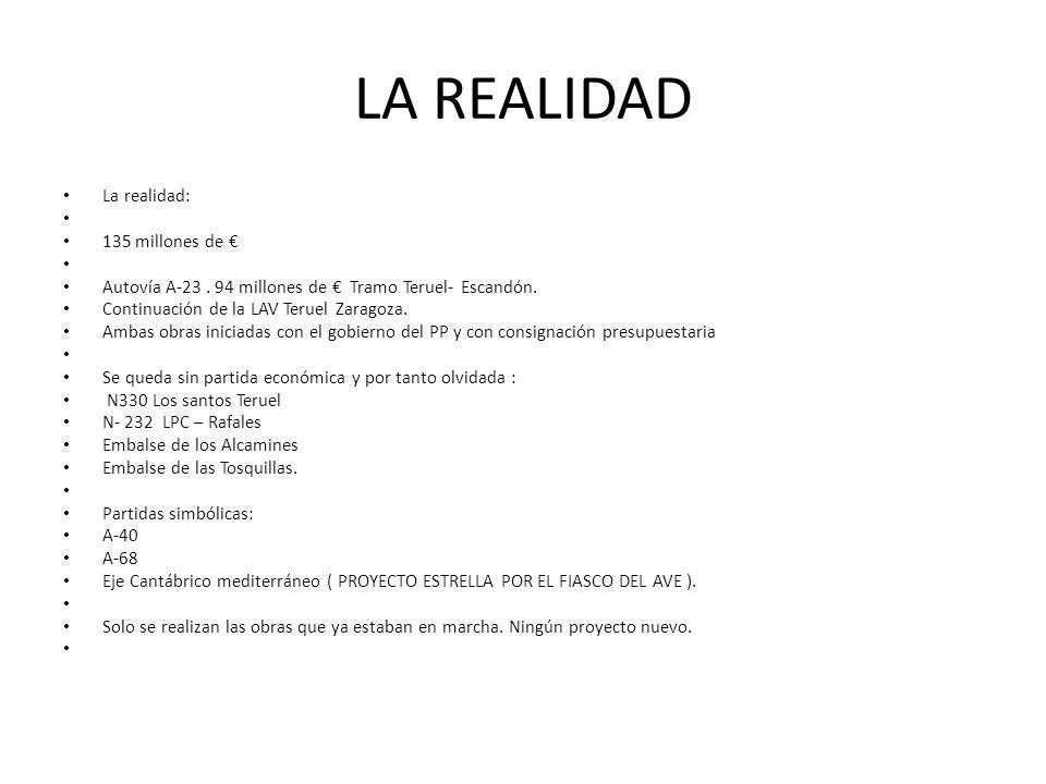 LA REALIDAD La realidad: 135 millones de Autovía A-23. 94 millones de Tramo Teruel- Escandón. Continuación de la LAV Teruel Zaragoza. Ambas obras inic