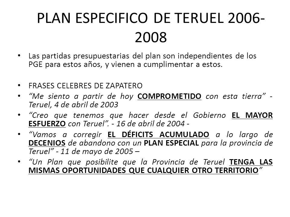 PLAN ESPECIFICO DE TERUEL 2006- 2008 Las partidas presupuestarias del plan son independientes de los PGE para estos años, y vienen a cumplimentar a es