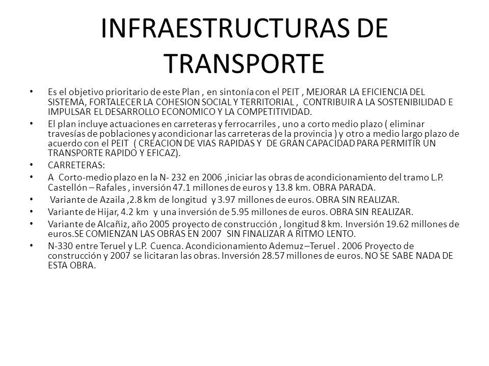 INFRAESTRUCTURAS DE TRANSPORTE Es el objetivo prioritario de este Plan, en sintonía con el PEIT, MEJORAR LA EFICIENCIA DEL SISTEMA, FORTALECER LA COHE