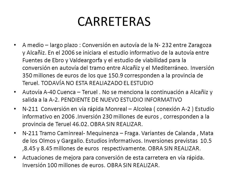 CARRETERAS A medio – largo plazo : Conversión en autovía de la N- 232 entre Zaragoza y Alcañiz. En el 2006 se iniciara el estudio informativo de la au