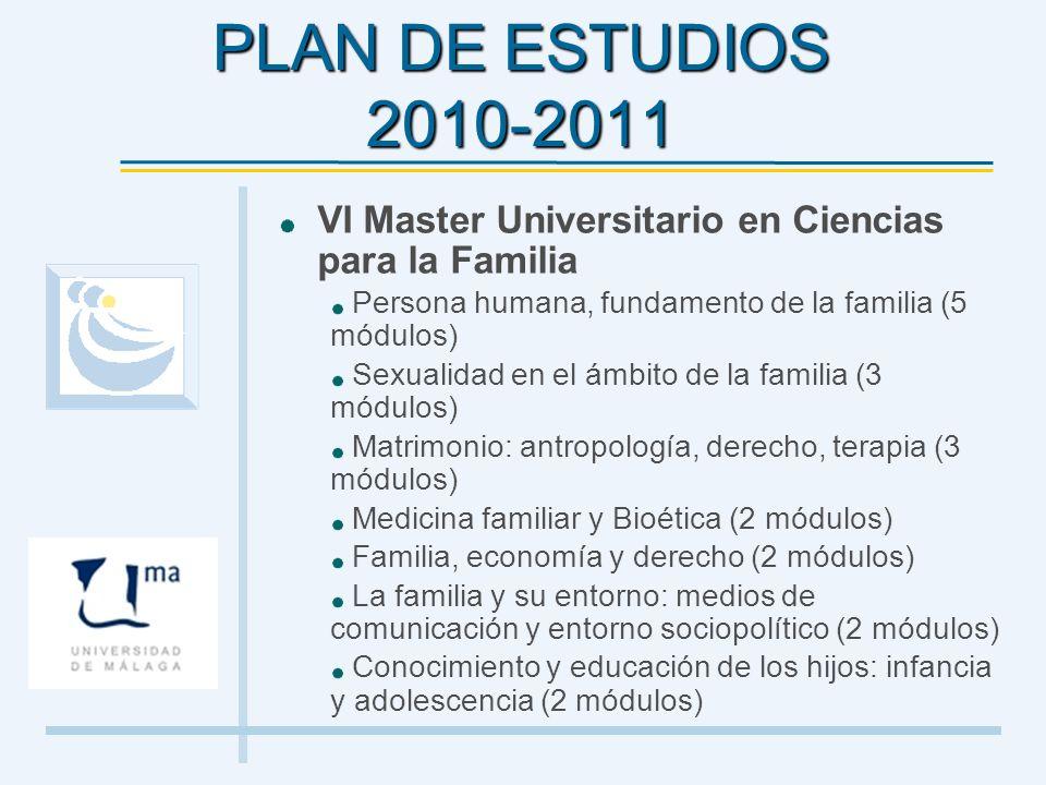 PLAN DE ESTUDIOS 2010-2011 VI Master Universitario en Ciencias para la Familia Persona humana, fundamento de la familia (5 módulos) Sexualidad en el á