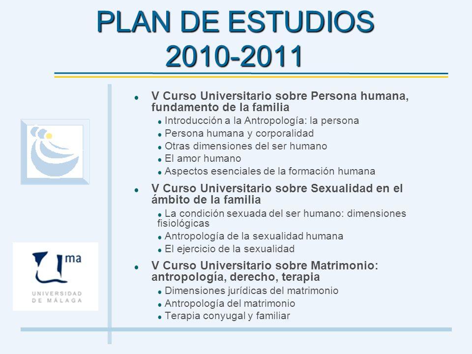 PLAN DE ESTUDIOS 2010-2011 V Curso Universitario sobre Persona humana, fundamento de la familia Introducción a la Antropología: la persona Persona hum