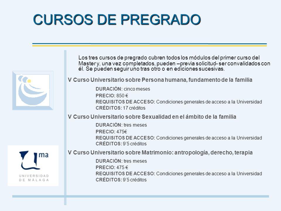 Los tres cursos de pregrado cubren todos los módulos del primer curso del Master y, una vez completados, pueden –previa solicitud- ser convalidados co