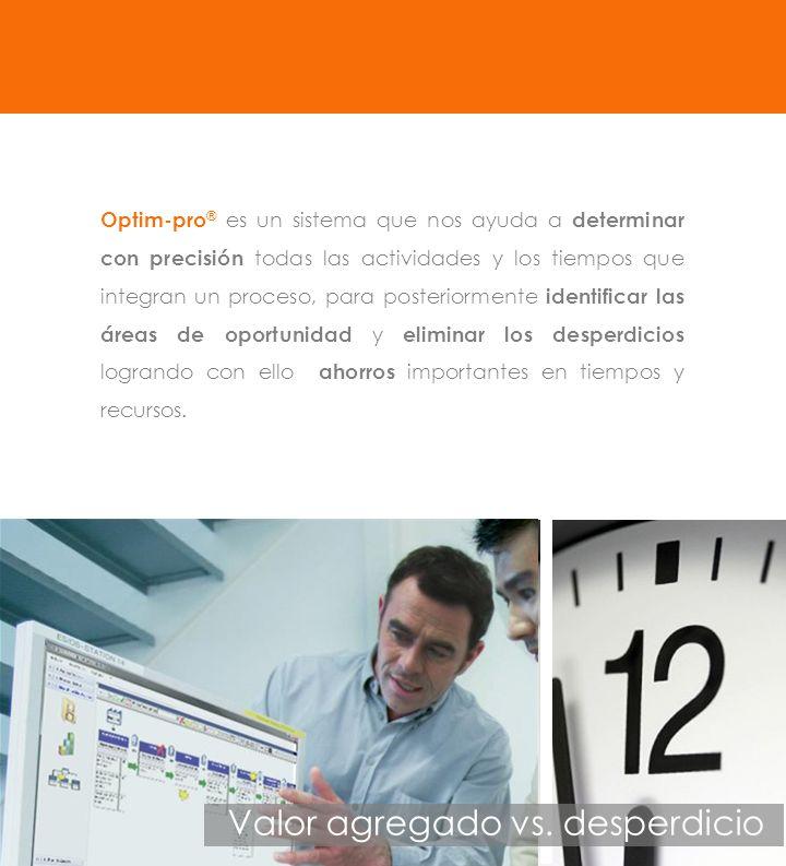 Optim-pro ® es un sistema que nos ayuda a determinar con precisión todas las actividades y los tiempos que integran un proceso, para posteriormente id