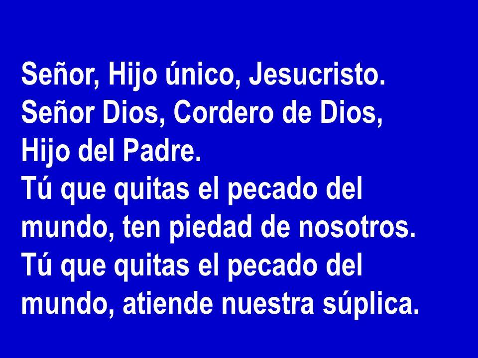 Gloria a Dios en el cielo, Y en la tierra paz a los hombres, que ama el Señor. Por tu inmensa gloria te alabamos, te bendecimos, te adoramos, te glori