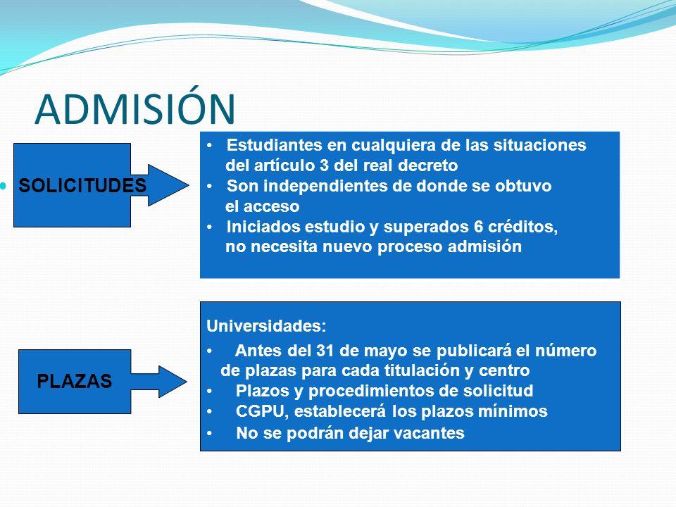 ADMISIÓN SOLICITUDES Estudiantes en cualquiera de las situaciones del artículo 3 del real decreto Son independientes de donde se obtuvo el acceso Inic