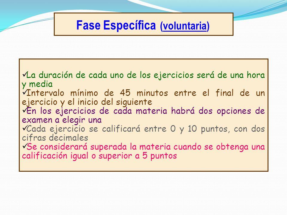 Fase Específica (voluntaria) La duración de cada uno de los ejercicios será de una hora y media Intervalo mínimo de 45 minutos entre el final de un ej