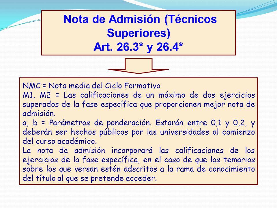 Nota de Admisión (Técnicos Superiores) Art. 26.3* y 26.4* Nota de Admisión = NMC + axM1 + bxM2 NMC = Nota media del Ciclo Formativo M1, M2 = Las calif