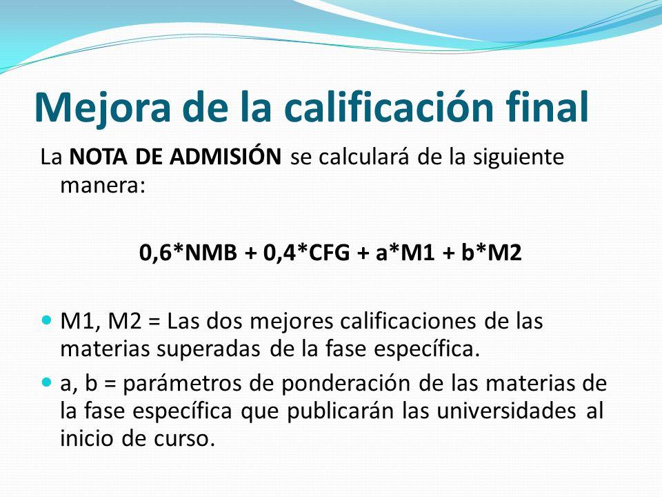 Mejora de la calificación final La NOTA DE ADMISIÓN se calculará de la siguiente manera: 0,6*NMB + 0,4*CFG + a*M1 + b*M2 M1, M2 = Las dos mejores calificaciones de las materias superadas de la fase específica.