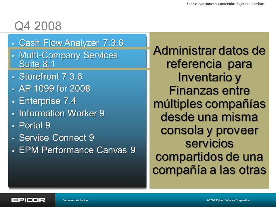 Q4 2008 Cash Flow Analyzer 7.3.6 Cash Flow Analyzer 7.3.6 Multi-Company Services Suite 8.1 Multi-Company Services Suite 8.1 Storefront 7.3.6 Storefron