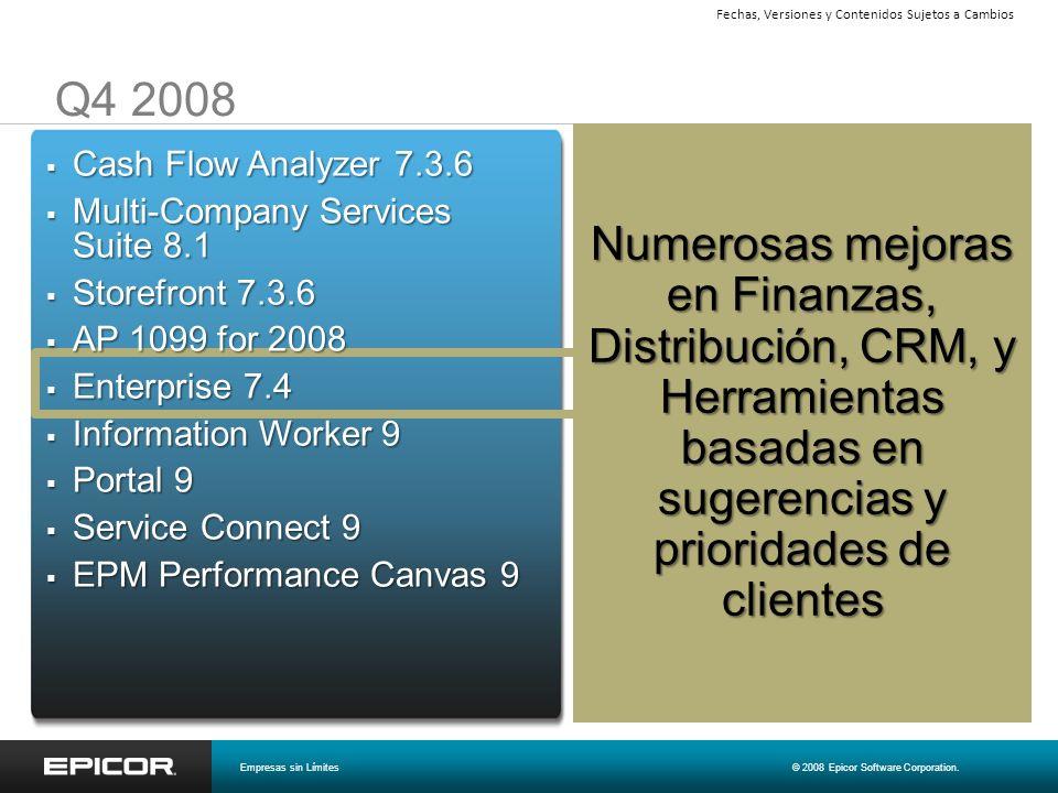 Q4 2008 Numerosas mejoras en Finanzas, Distribución, CRM, y Herramientas basadas en sugerencias y prioridades de clientes Cash Flow Analyzer 7.3.6 Cas