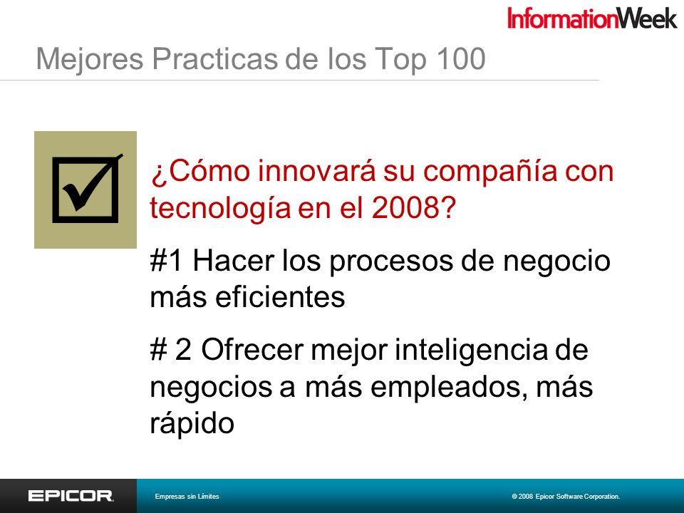 Mejores Practicas de los Top 100 ¿Cómo innovará su compañía con tecnología en el 2008? #1 Hacer los procesos de negocio más eficientes # 2 Ofrecer mej