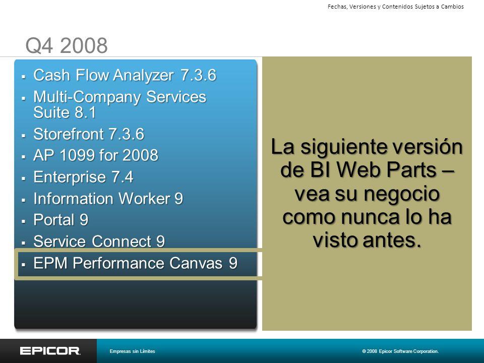 Q4 2008 La siguiente versión de BI Web Parts – vea su negocio como nunca lo ha visto antes. Cash Flow Analyzer 7.3.6 Cash Flow Analyzer 7.3.6 Multi-Co