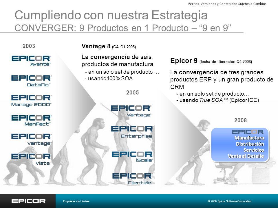 Cumpliendo con nuestra Estrategia CONVERGER: 9 Productos en 1 Producto – 9 en 9 2005 2008 Manufactura Distribución Servicios Venta al Detalle Epicor 9